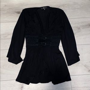 Sky Black Blouse With Belt
